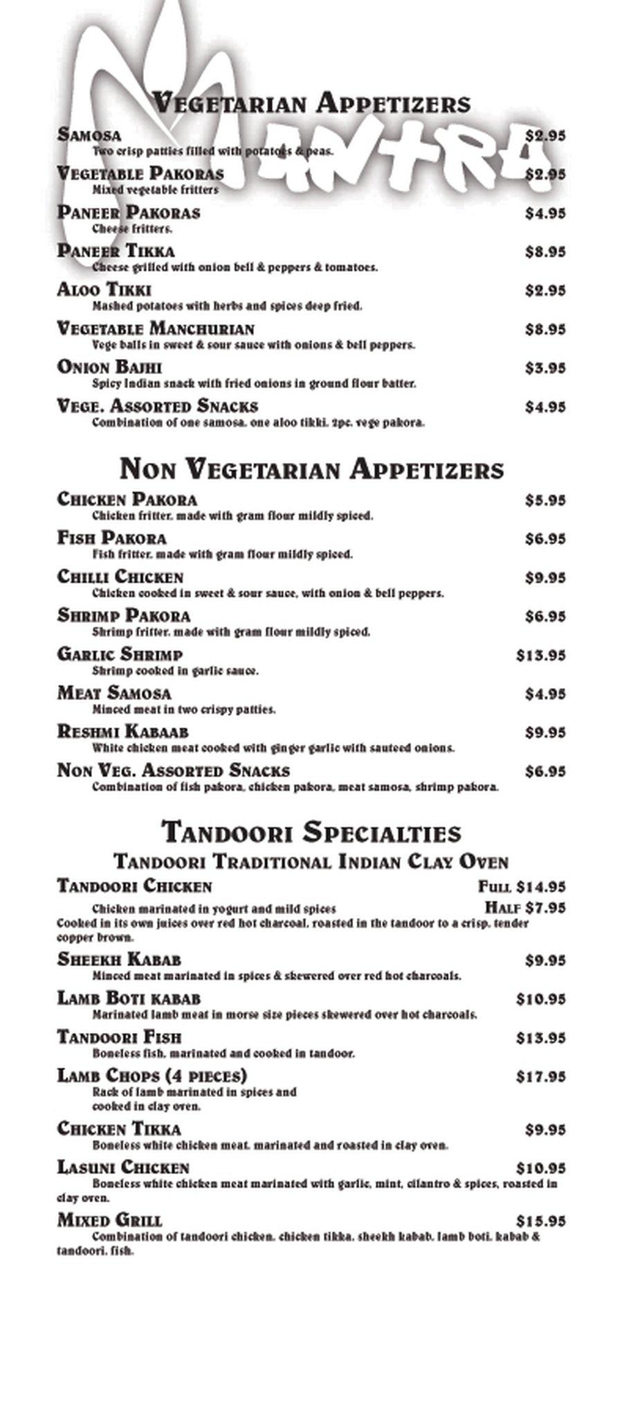 Online Menu For Mantra Indian Cuisine In Corona California United